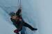 Hanging in a crevasse in the Cowlitz Glacier during crevasse rescue training.